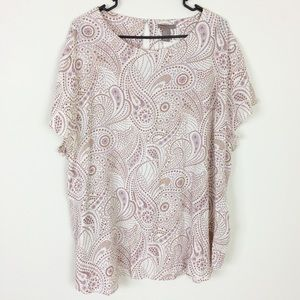 H&M White Lavender and Brown Paisley Shirt Size 24
